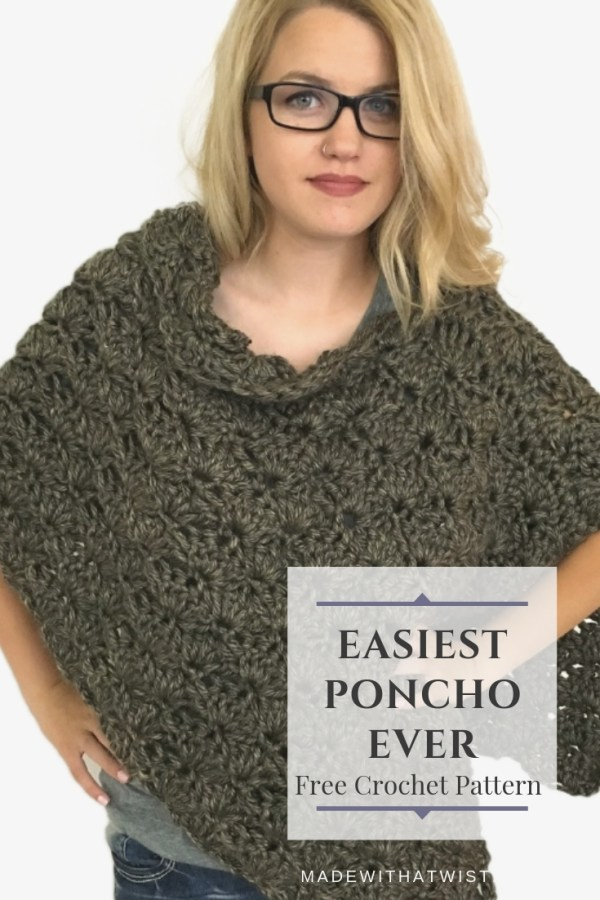 a pinterest image with a blonde woman with hands on her hips wearing a crocheted poncho made from Lion Brand Hometown USA yarn in Little Rock Granite colorway