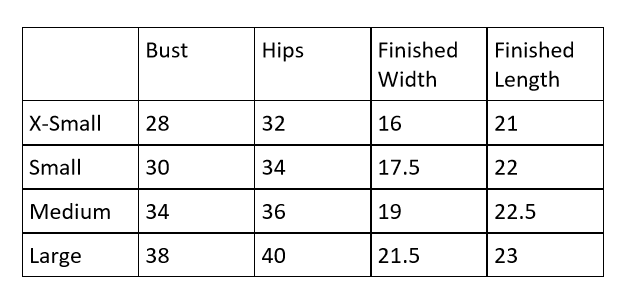 Sizing Chart for V-neck Top Free Crochet Pattern