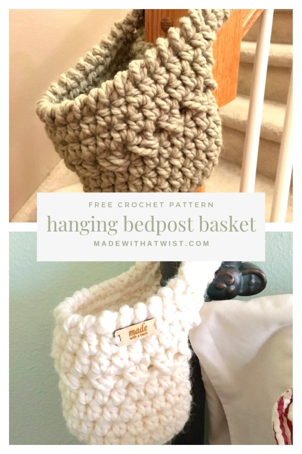 Pinterest photo of two hanging baskets. One hanging from a bedpost and the other hanging from a stairway knob.