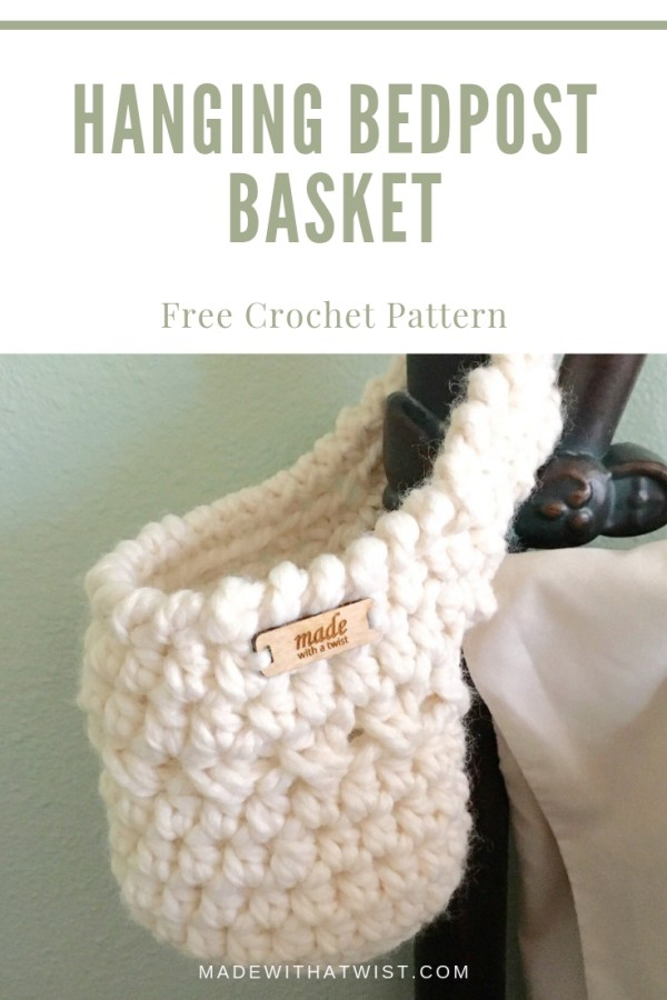 Pinterest photo of a crochet hanging basket hanging on a bedpost