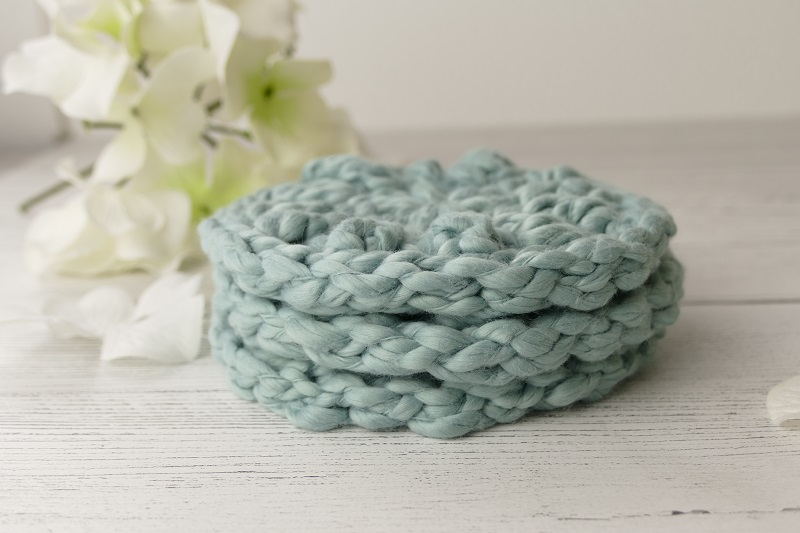 photo of three facial scrubbies stacked on top of one another