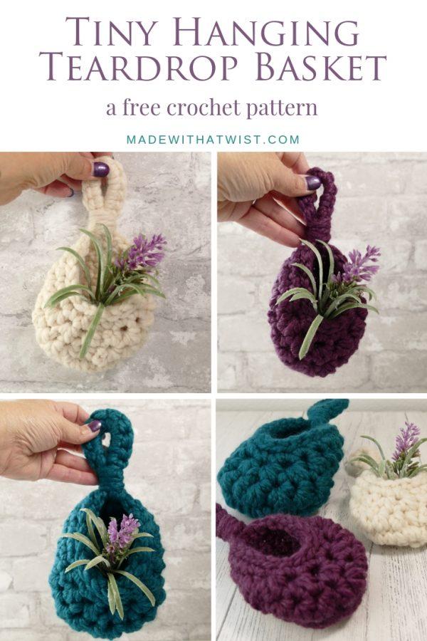 pinterest collage image of the aeryn tiny hanging teardrop basket crochet pattern