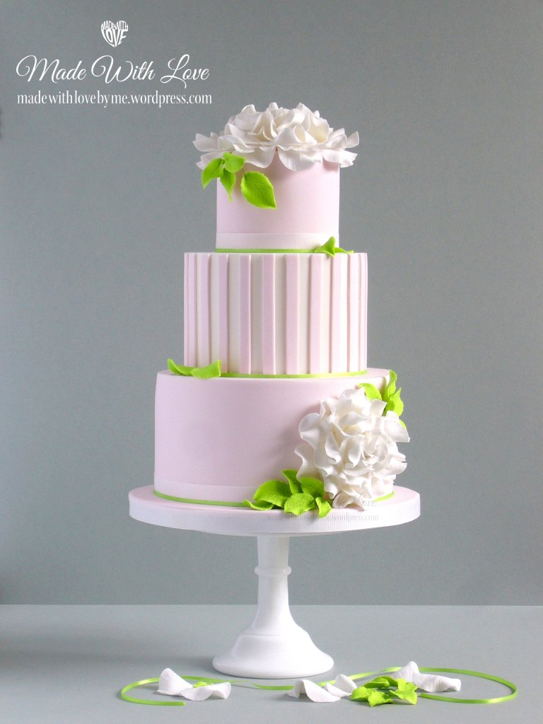 Pink and White Wedding Cake with Roses   Made With Love  by me  Pink and White Wedding Cake with Roses