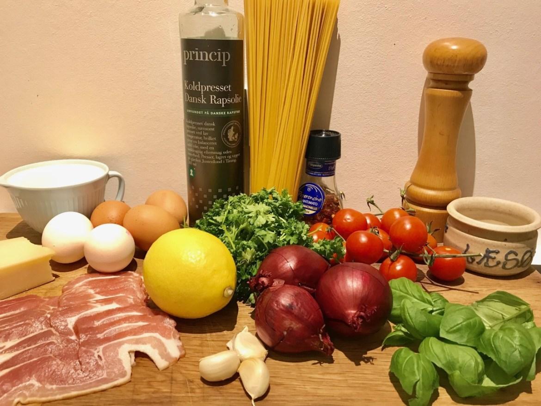 Spaghetti carbonara med et frisk tvist