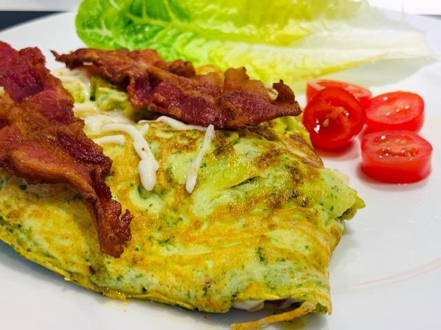 Opskrift på omelet med spinat og avokado