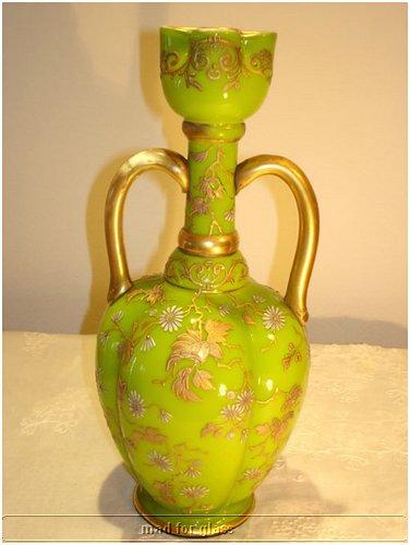 HARRACH SHINING GREEN OPALINE GLASS VASE WITH GOLD ENAMEL