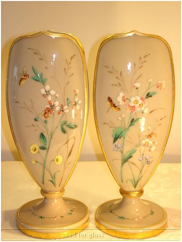 HARRACH PALE GREY GLASS VASES WITH ENAMELED OF INSECTS AND FLOWERS AND GOLD FINISH RIM