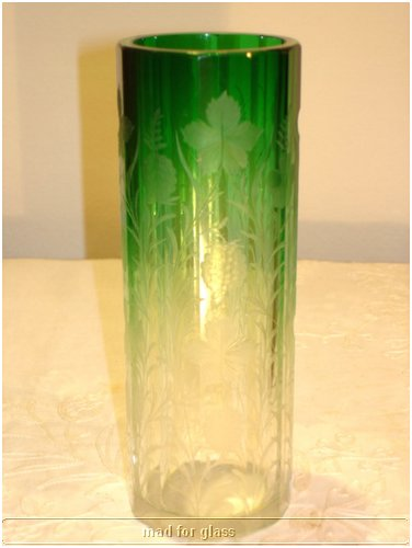 MOSER FACETED CLEAR TO GREEN ENGRAVED GLASS VASE