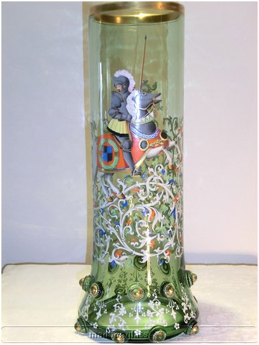LARGE OLD AND THICK HARRACH NEUWELT ENAMELED VASE WITH CABOCHONS IN THE HISTORISMUS STYLE