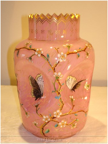 HARRACH CLEAR PINK SPOTTED GLASS VASE WITH GOLD ENAMELED, TWO BUTTERFLIES AND PINCHED FORM