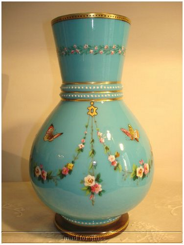 BIEDERMEIER OPALINE BLUE GLASS VASE WITH ENAMEL AND GOLD PAINTING, POSSIBLY BY HARRACH GLASS FACTORY