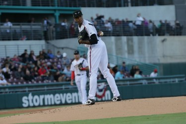 San Diego Padres pitching prospect Reggie Lawson with the Lake Elsinore Storm