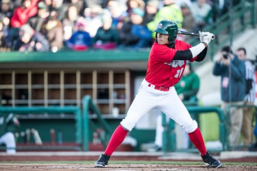 San Diego Padres prospect Tirso Ornelas bats for the TinCaps