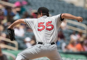Padres prospect Robert Stock pitches for El Paso Chihuahuas.