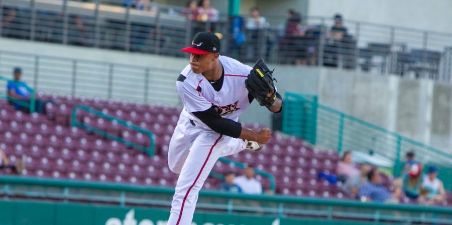 Padres prospect Reggie Lawson pitches for Lake Elsinore Storm