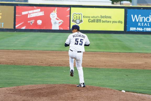 San Diego Padres prospect Angel Acevedo pitching for Tri-City Dust Devils