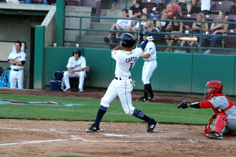 San Diego Padres prospect Tre Carter batting for Tri-City Dust Devils