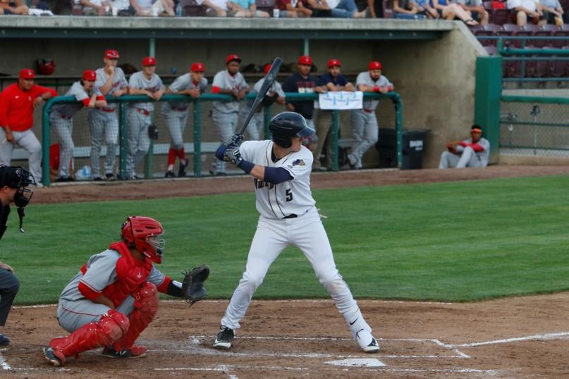 San Diego Padres prospect Blake Hunt batting for Tri-City Dust Devils