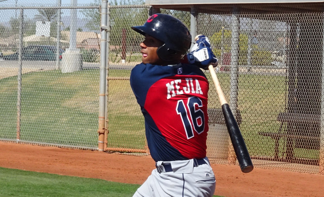 Top catching prospect Francisco Mejia bats for the Cleveland Indians