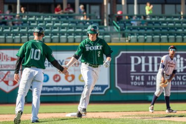 Padres prospect Jack Suwinski after a homer for Fort Wayne TinCaps