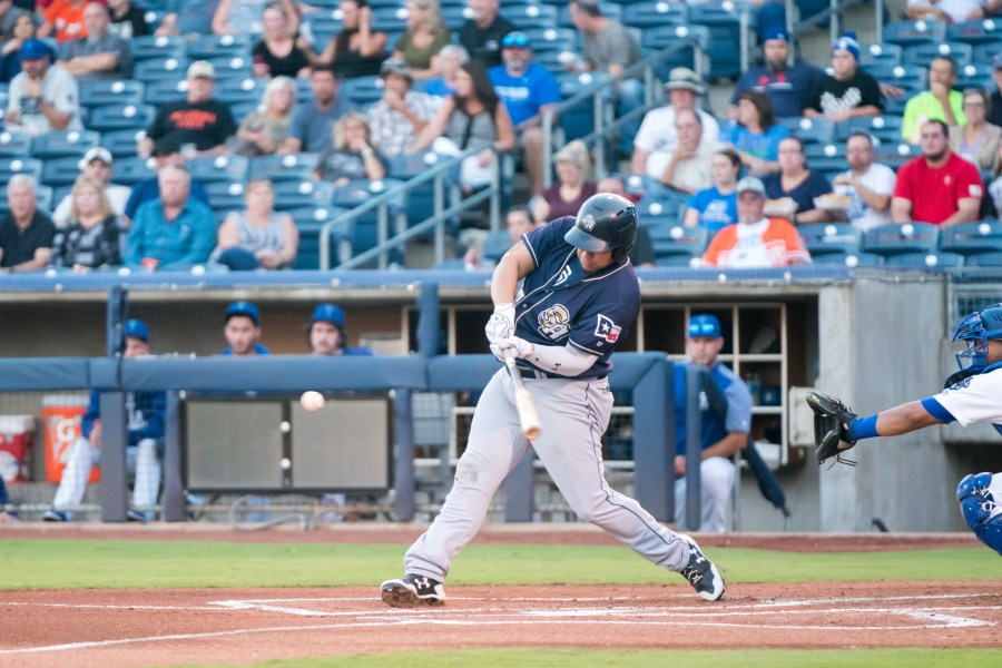 Josh Naylor, San Diego Padres prospect batting for San Antonio Missions in playoffs