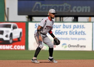 Gabriel Arias at shortstop for Lake Elsinore Storm