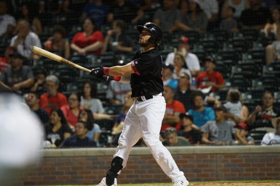 Padres catching prospect Austin Allen bats for El Paso Chihuahuas