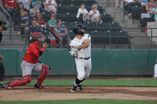 Padres prospect Logan Driscoll bats for the Tri-City Dust Devils
