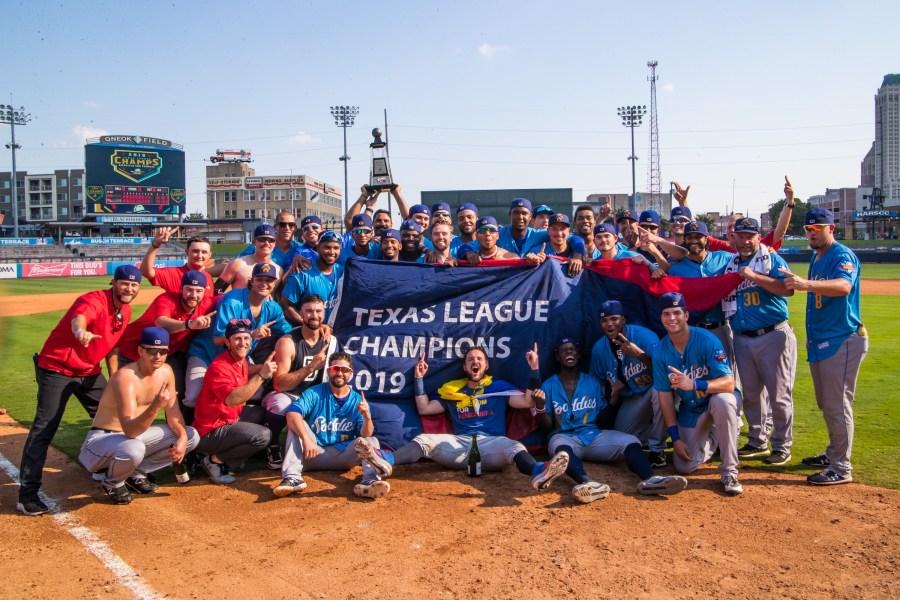 The Amarillo Sod Poodles celebrate their 2019 Texas League Championship