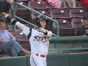 Padres prospect Robert Hassell III swings for the Lake Elsinore Storm