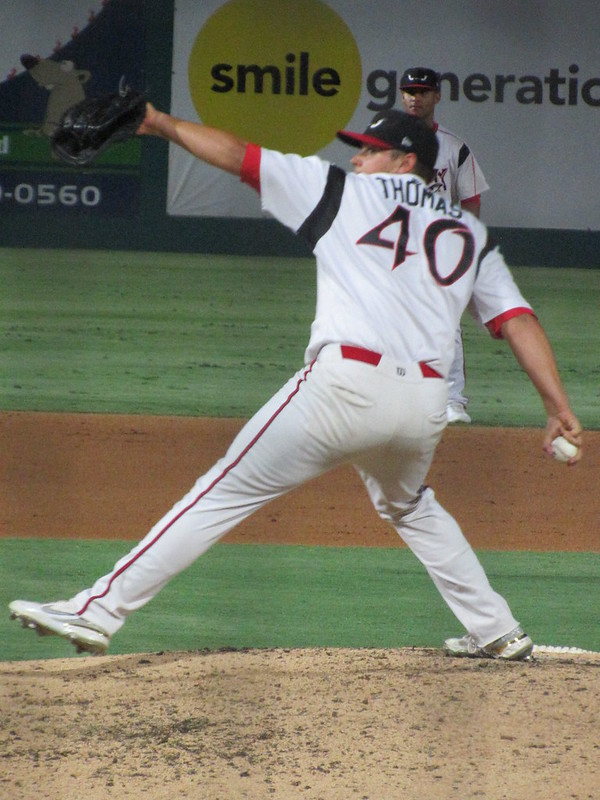 Padres prospect Levi Thomas pitches for the Lake Elsinore Storm