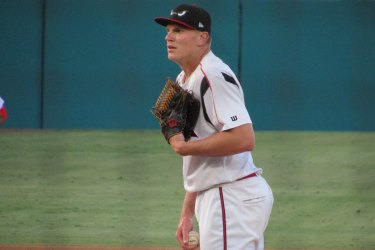 San Diego Padres prospect Chase Walter on the mound for the Lake Elsinore Storm.