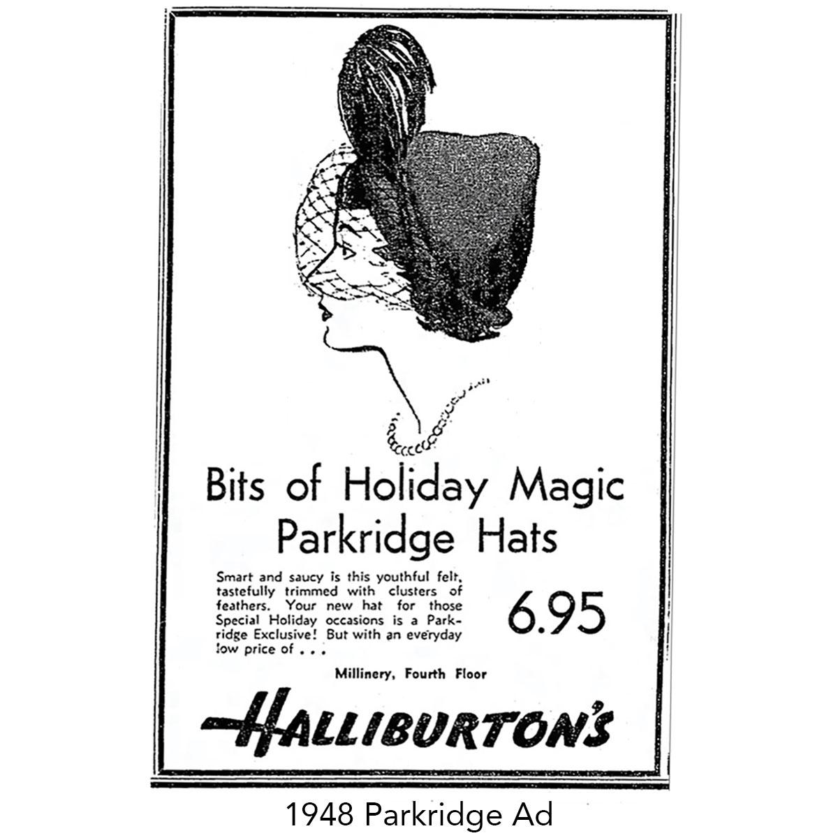 Parkridge hats advertisement from 1948