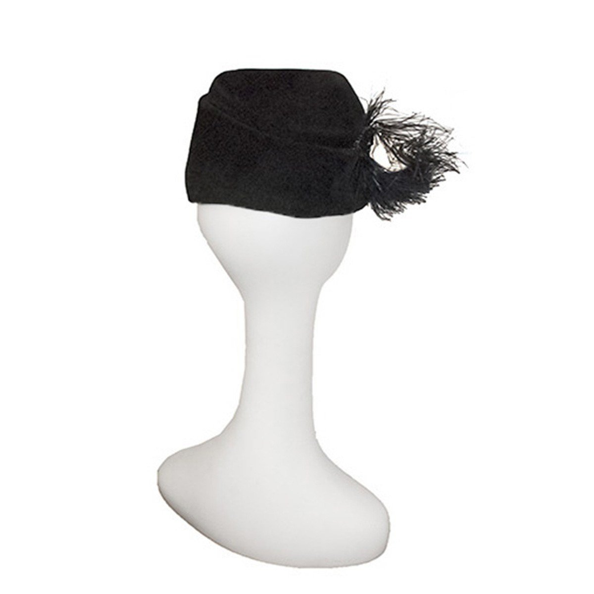 1940s Cocktail Hat, Black Velour Felt, Feathers & Beading, Hat Size 20