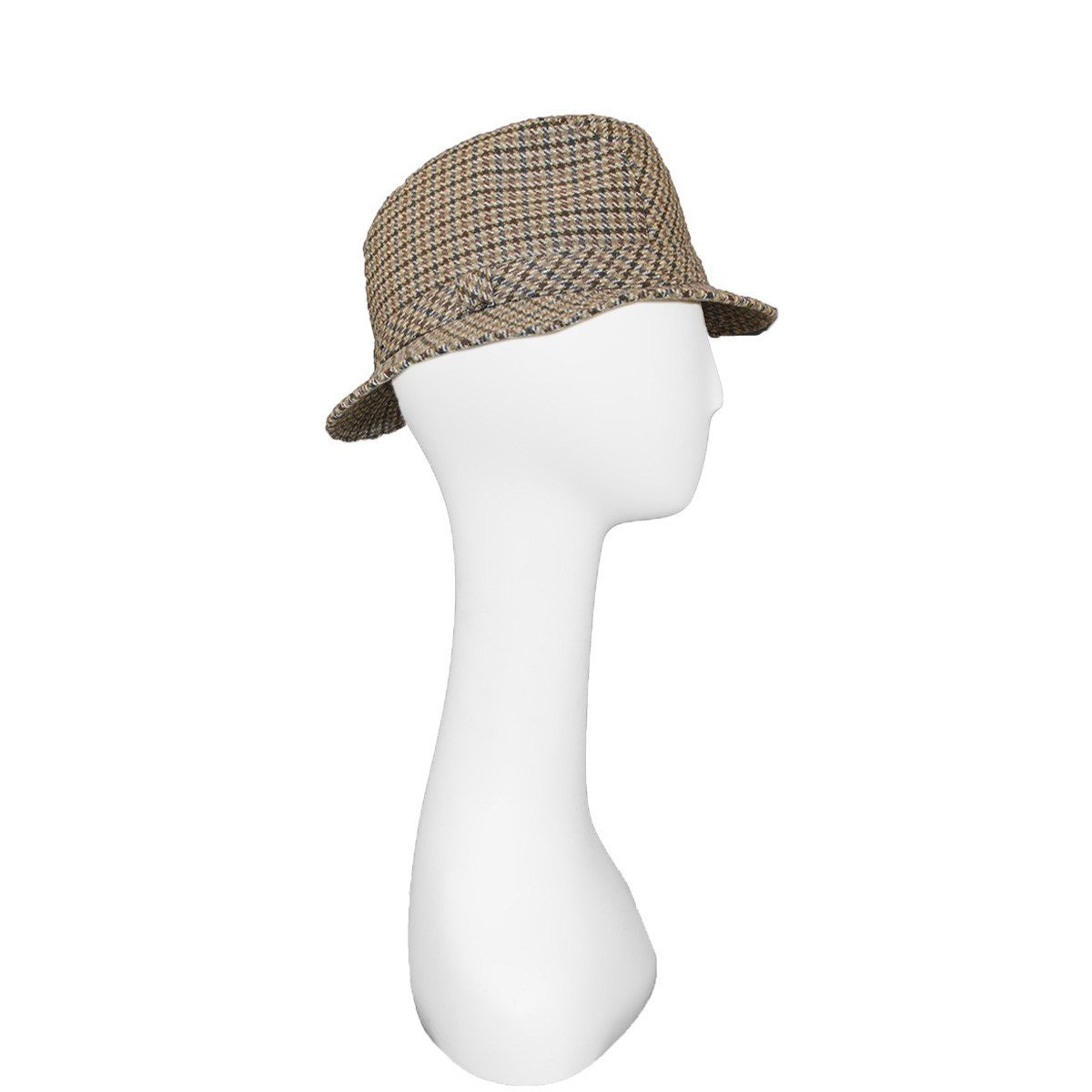 Vintage Brook Brothers Trilby, Brown & Gray Check, Hat Size 7