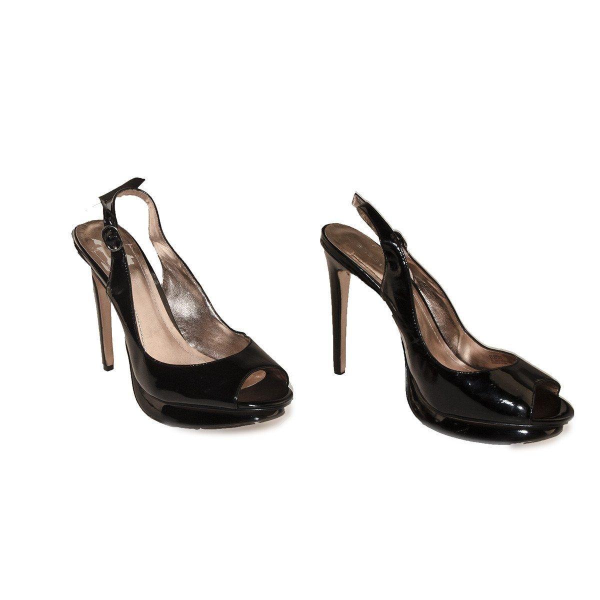 Black Patent Leather Peep Toe Slingback Stilettos, BCBGeneration, Size 8.5