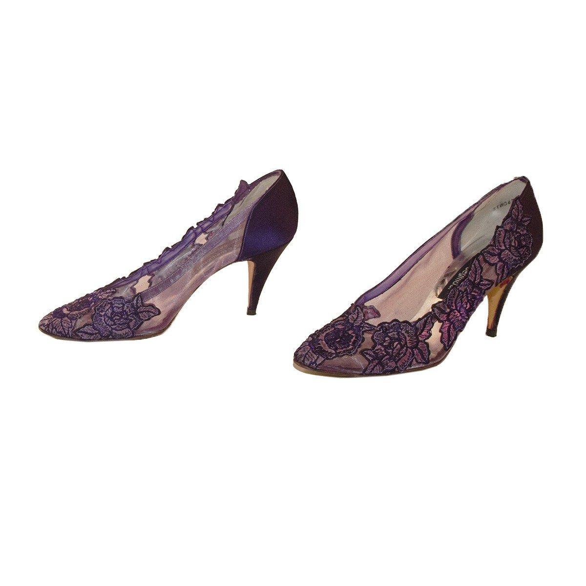 Stuart Weitzman Purple Lace Pumps, Pointed Toe, Size 9