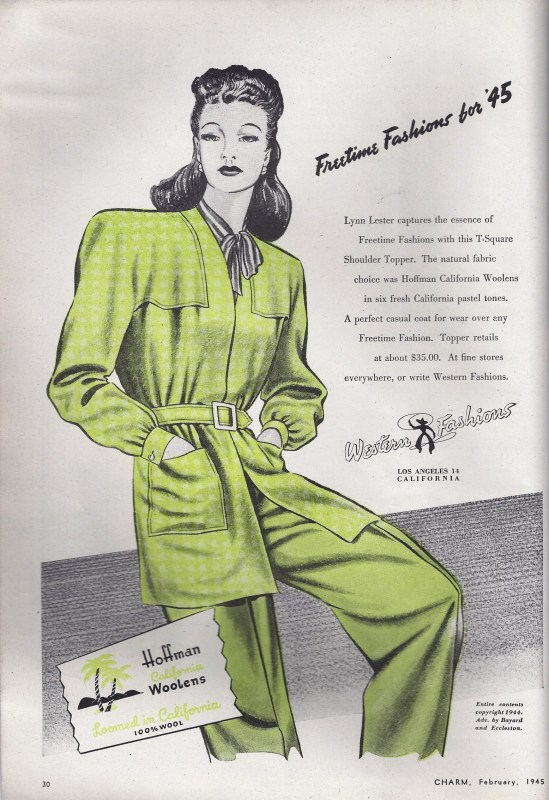 Charm Magazine vintage green pantsuit western fashions