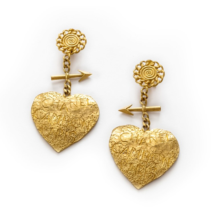 Chanel Gold Heart Earrings