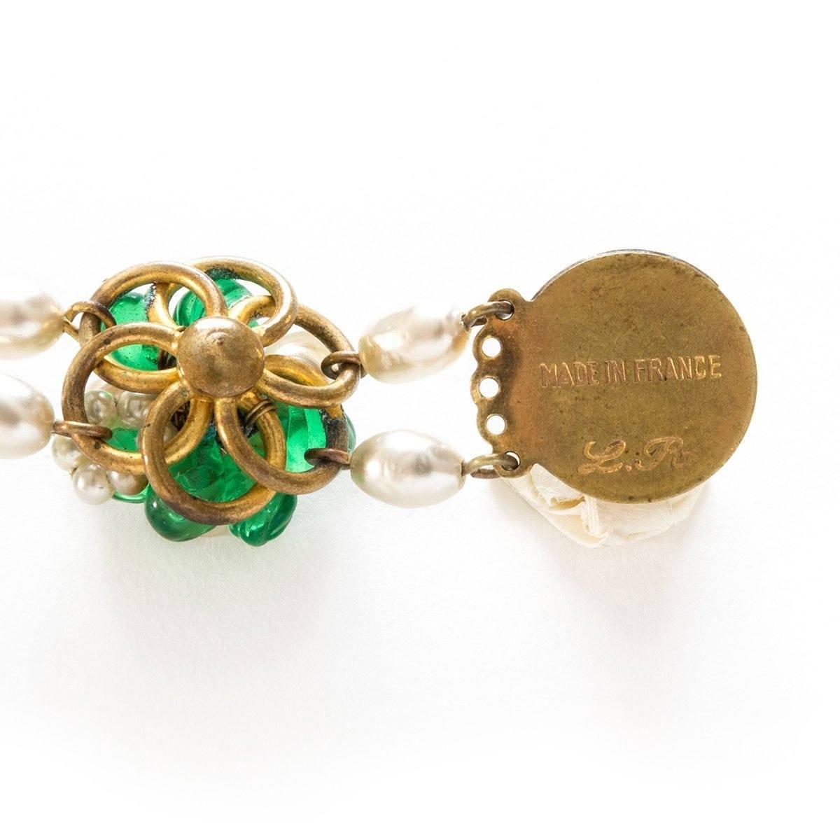 1950s Signed Louis Rousselet Freshwater Pearls & Green Glass Bracelet