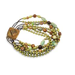 Vintage Beaded Necklace by Ornella, Milan Italy, Ornate Clasp