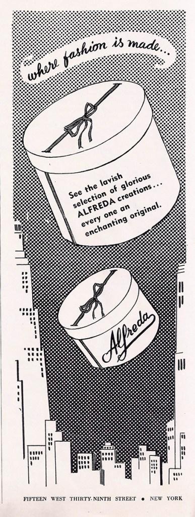 Alfreda hatbox ad 1951