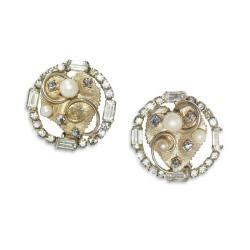 1950s Hobe Pearl & Rhinestone Earrings