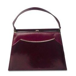 Vintage Naturalizer Two Tone Burgundy Structured Handbag, Gold Hardware