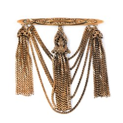 Joseff of Hollywood Gold Chatelaine Style Brooch