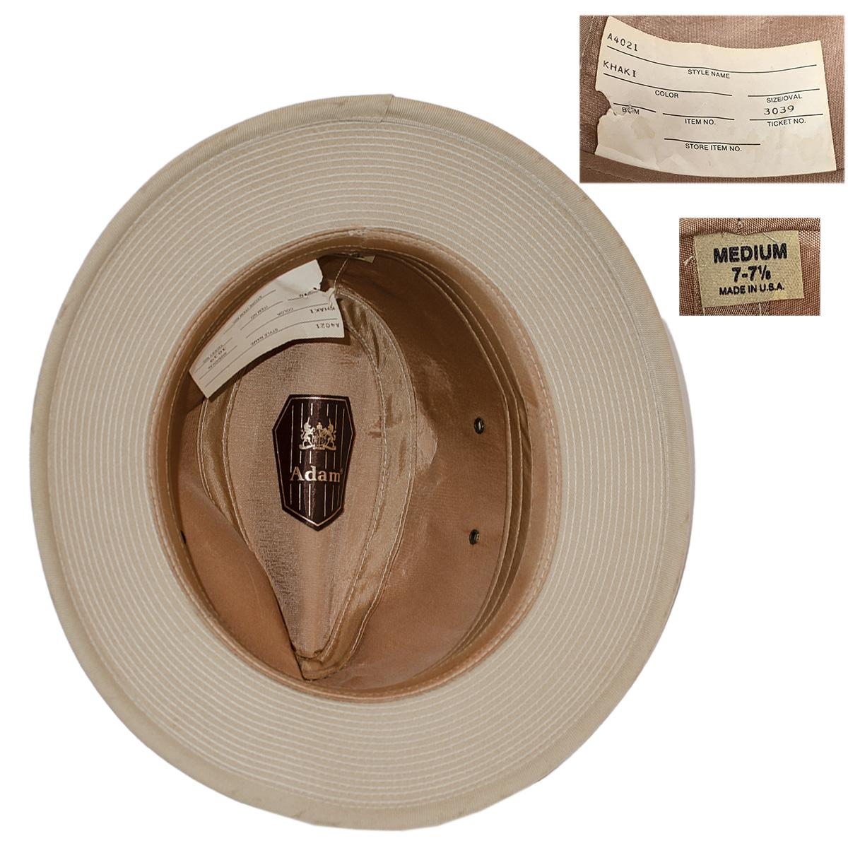 Adams Hats label