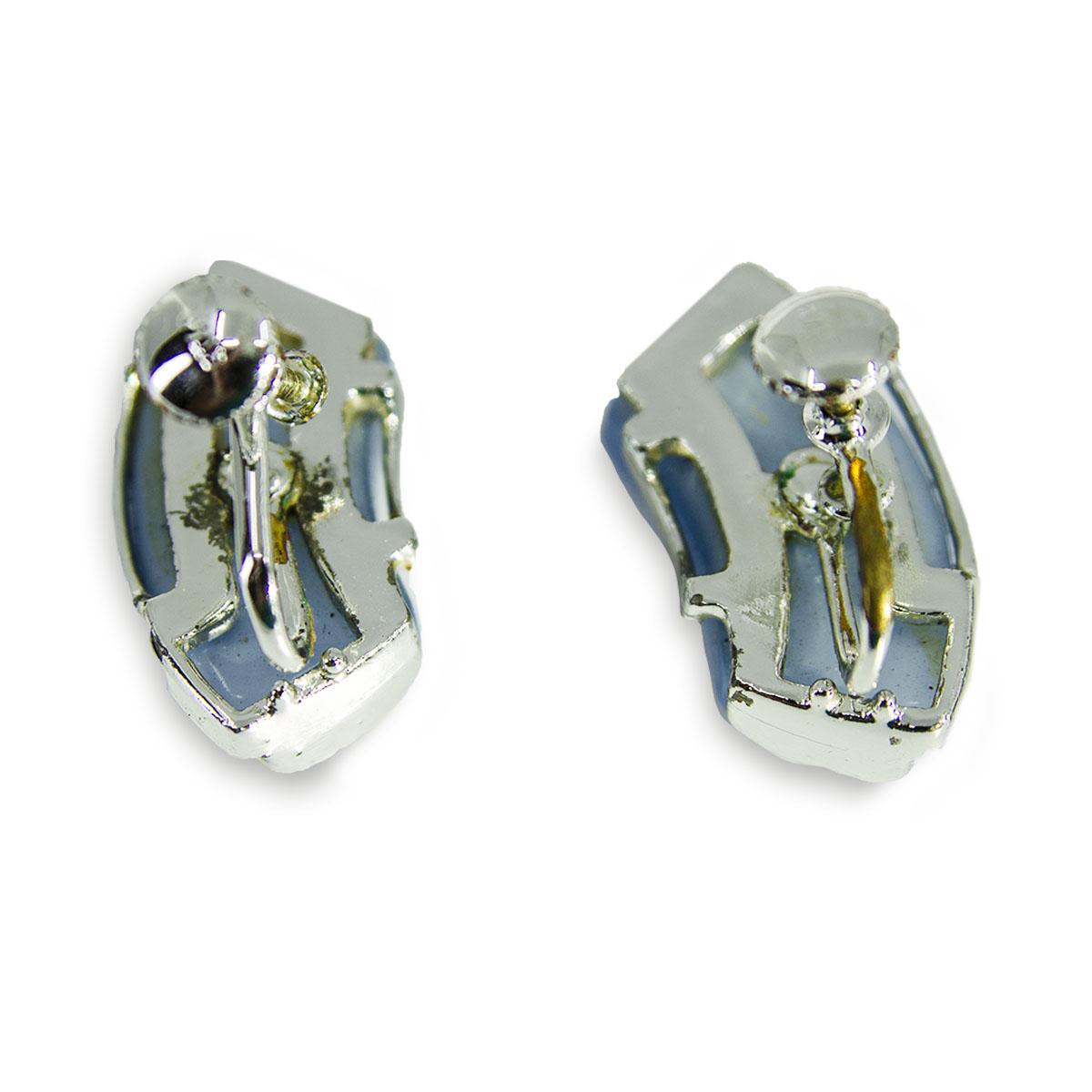Blue screw back earrings