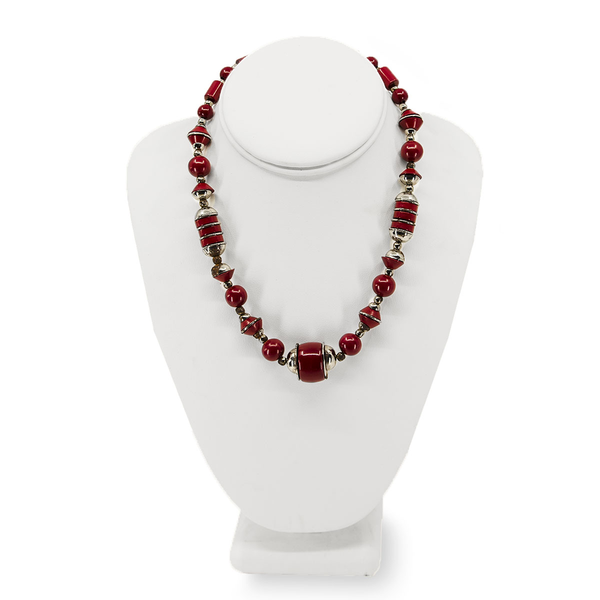 red bakelite necklace, chrome necklace
