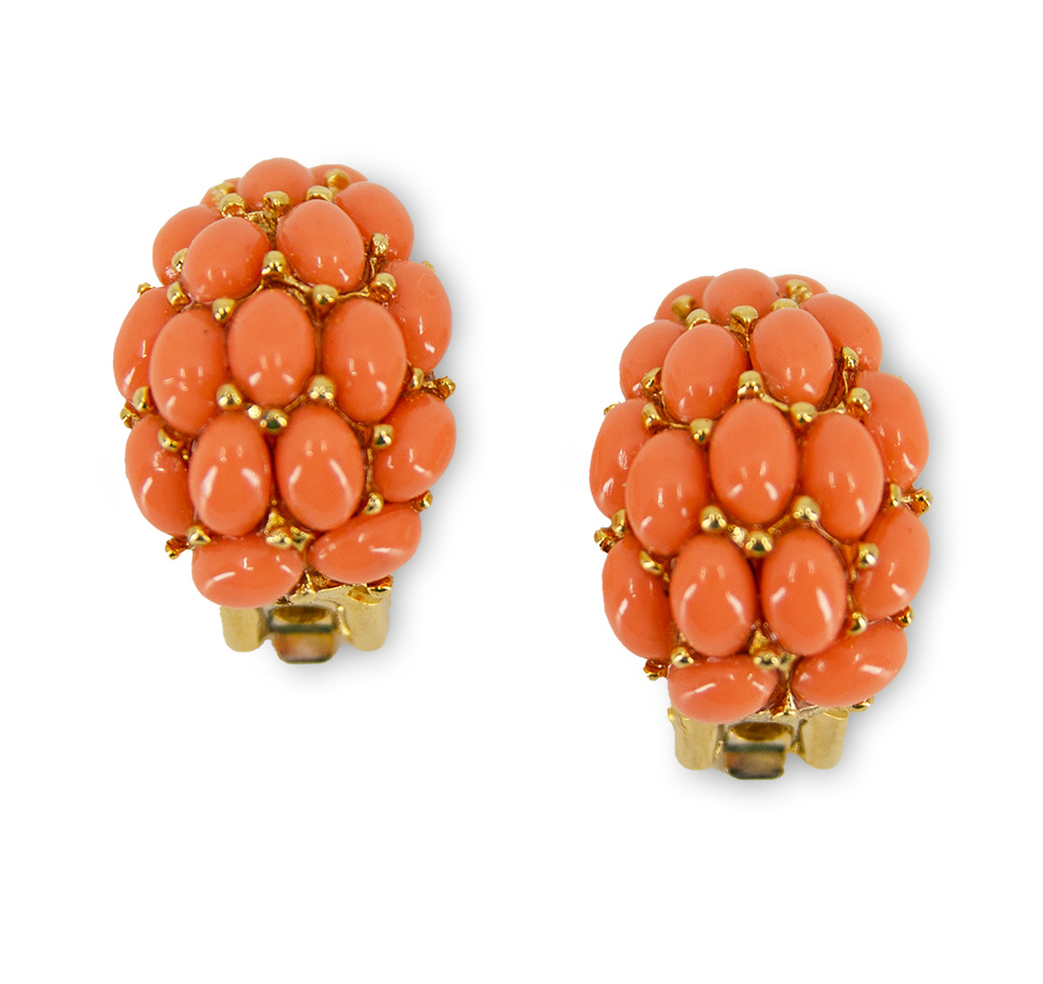 Kenneth Jay Lane Earrings, coral cabohons