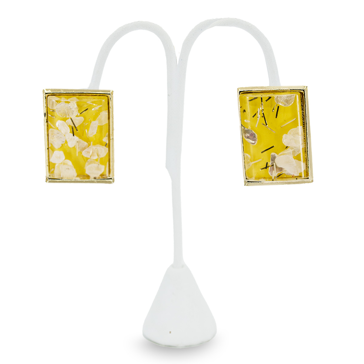 vintage 1970s confetti earrings, yellow lucite